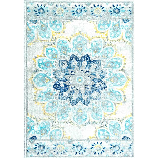 Nellis Blue Area Rug by World Menagerie