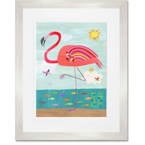 'Flamboyant Flamingo' by Melanie Mikecz Framed Painting Print by Oopsy Daisy