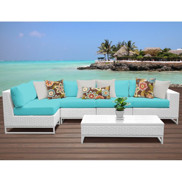 Miami 6 Piece Sectional Seating Group with Cushions by TK Classics
