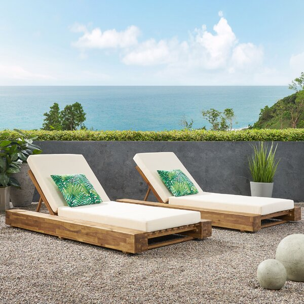 Lawrence Outdoor Reclining Chaise Lounge with Cushion (Set of 2)