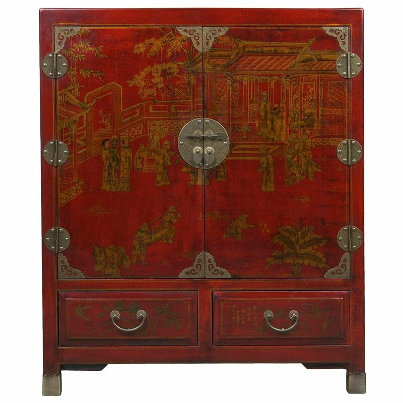 Handmade Oriental Antique Style Traditional Heirloom Accent Cabinet - EXP Décor Handmade Oriental Antique Style Traditional Heirloom