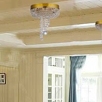 Aguilera Polished Brass Round Sabine Crystal Ceiling 2 Light Flush Mount by Rosdorf Park