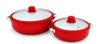 2-Piece Aluminum Round Casserole Set with Lid by IMUSA