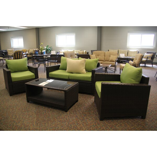Lamatan 4 Piece Rattan Sofa Seating Group with Cushions by Latitude Run