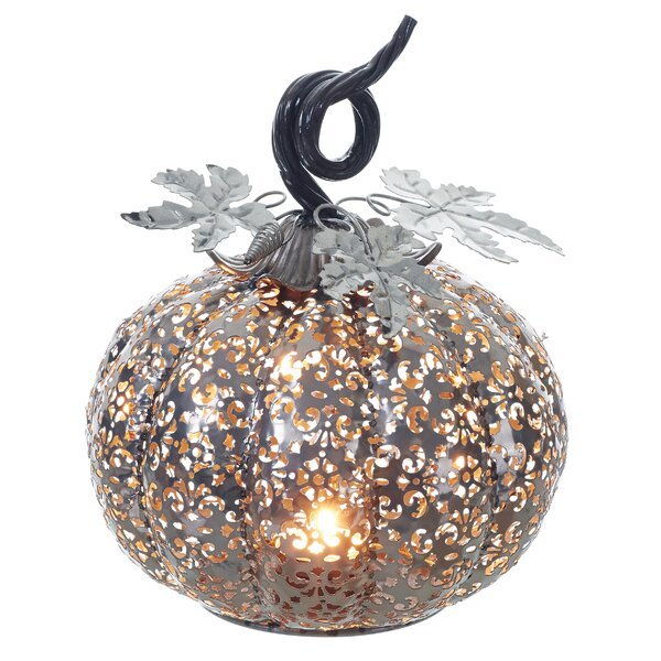 Aaru Filigree Pumpkin Decor Metal Tealight Holder by August Grove