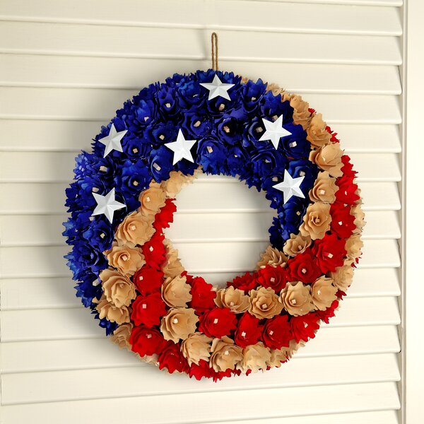 Woodshave Round Independence 13.5 Wreath by August Grove