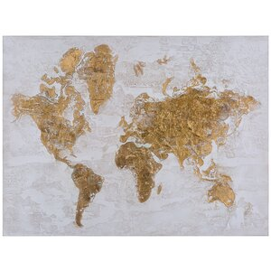 'Map in Gold' Print on Canvas by Ivy Bronx