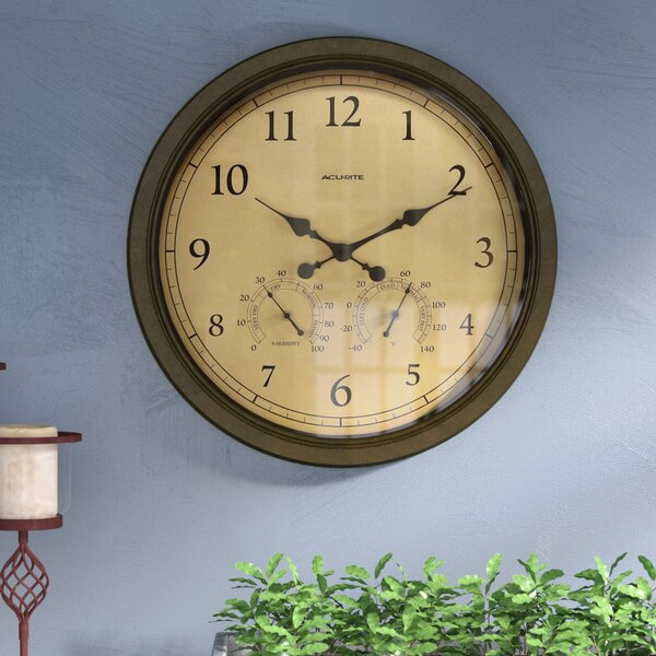 Oversized 24 Brown Outdoor Clock Combo by Three Posts