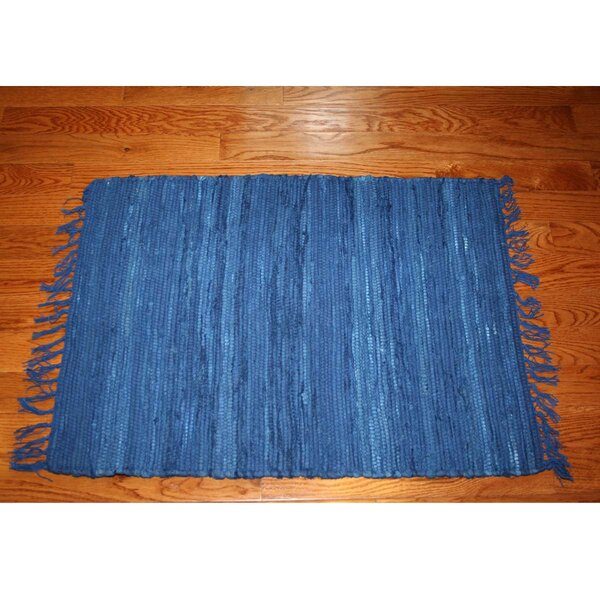 One-of-a-Kind Linmore Solid Hand-Woven Navy Area Rug by Bay Isle Home