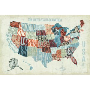 USA Modern' Textual Art on Canvas by East Urban Home