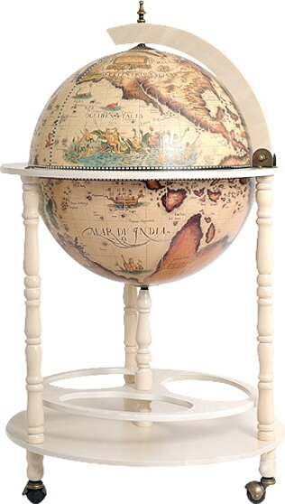 Globe Drinks Cabinet Floor Stand-White by Old Modern Handicrafts