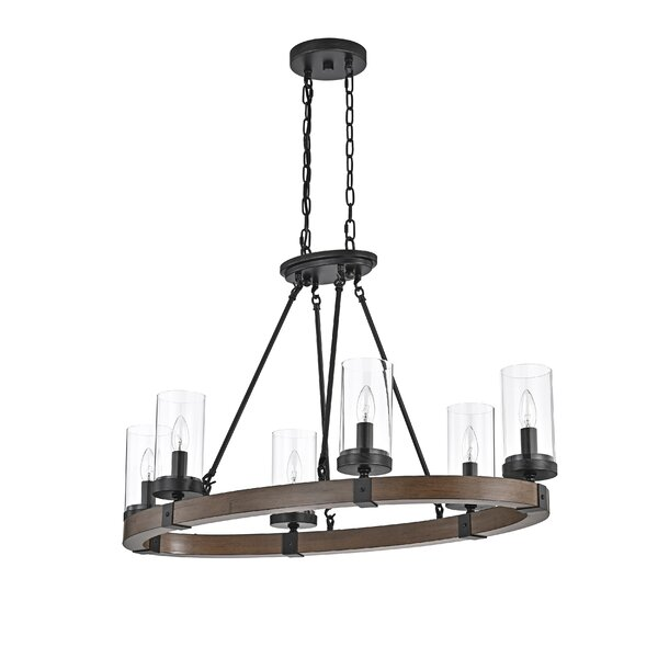 Devencove 6 - Light Shaded Wagon Wheel Chandelier with Wood Accents by Gracie Oaks Gracie Oaks