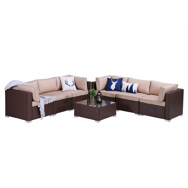 Sumru Outdoor 7 Piece Rattan Sectional Seating Group with Cushions by Latitude Run