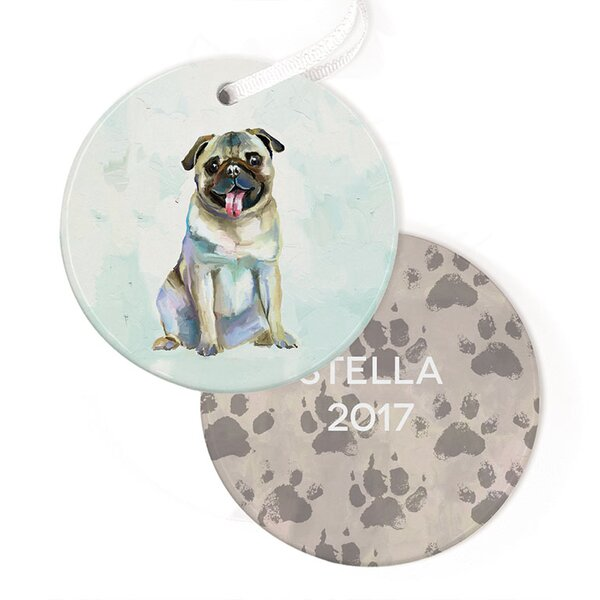 Personalized Best Friend Pug Hanging Ornament by GreenBox Art