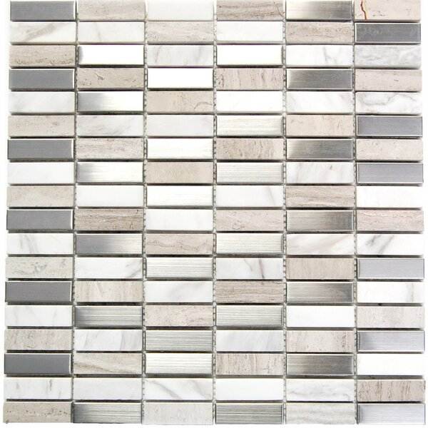0.6 x 2 Mixed Material Mosaic Tile in Gray/Tan by Luxsurface