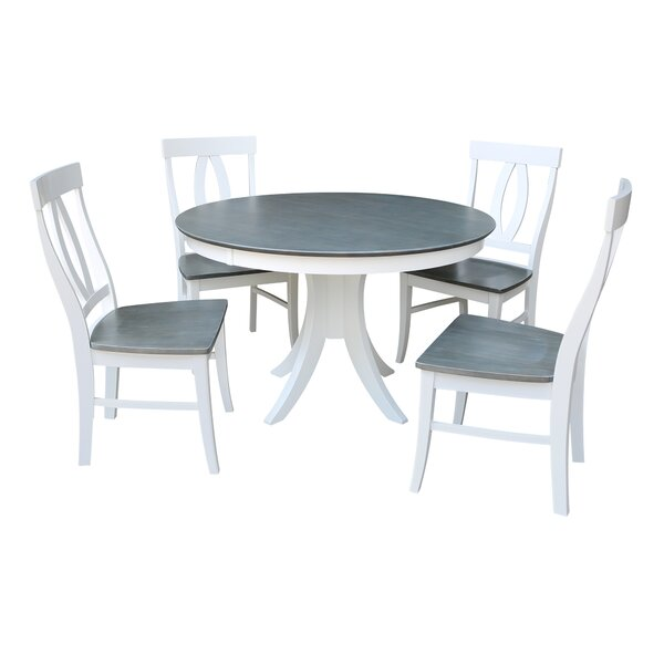 Brenden Pedestal 5 Piece Solid Wood Dining Set by Red Barrel Studio