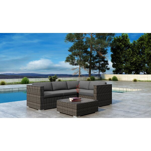 Gilleland 5 Piece Sectional Seating Group with Sunbrella Cushions by Orren Ellis