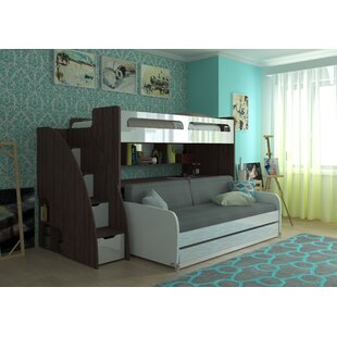 Medium image of gautreau twin futon bunk bed with bookcase