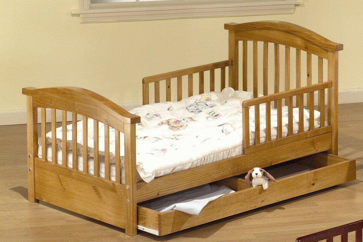 sorelle joel pine toddler bed with storage  reviews  wayfair - defaultname