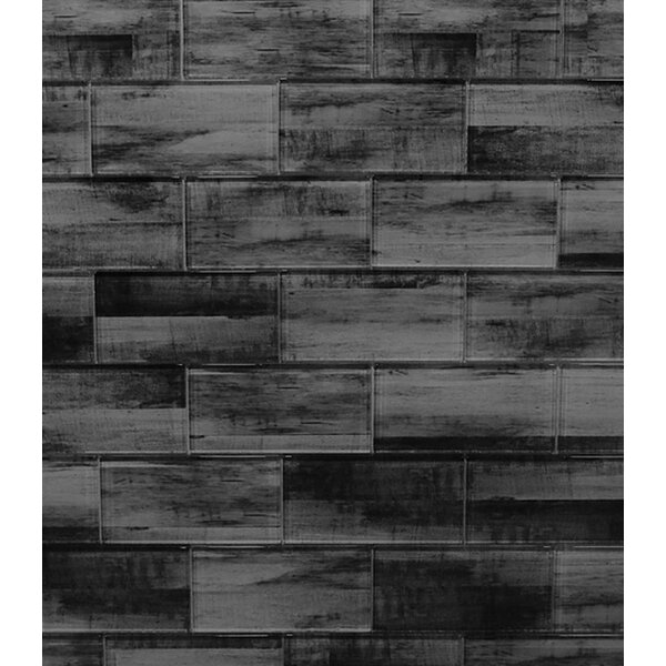 Ink Jet Series 3 x 6 Glass Mosaic Tile in Dark Gray Stone by WS Tiles