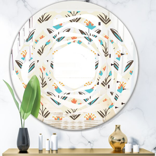 Whirl Pattern with Floral Ornament Cottage Americana Frameless Wall Mirror