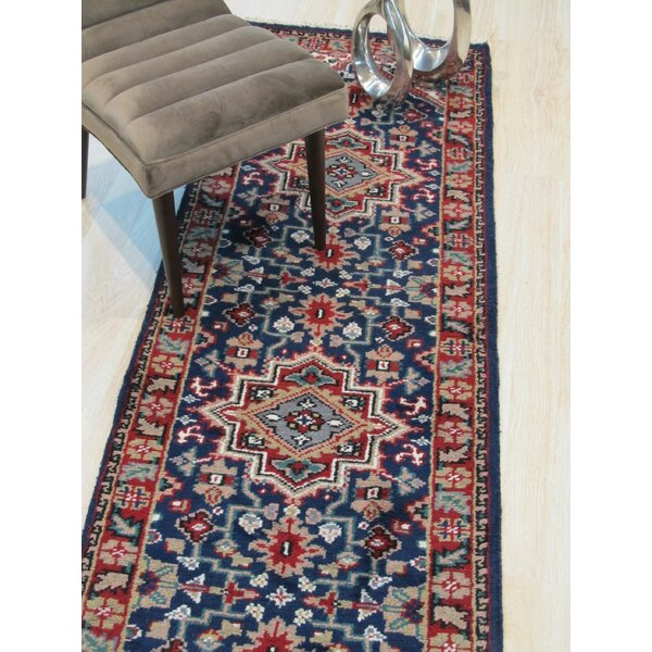 Neil Hand-Knotted Wool Blue Area Rug by Bloomsbury Market