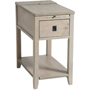 Best Seville Chairside Table in Driftwood By Rosecliff Heights