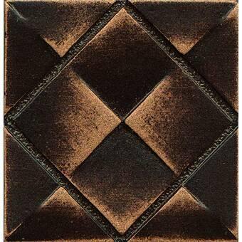 Elitetile Padova 1 63 X 1 63 Metal Decorative Tile In Bronze Wayfair