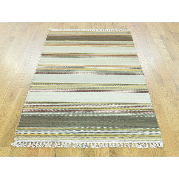 One-of-a-Kind Becnel Reversible Striped Handmade Kilim Wool Area Rug by Isabelline