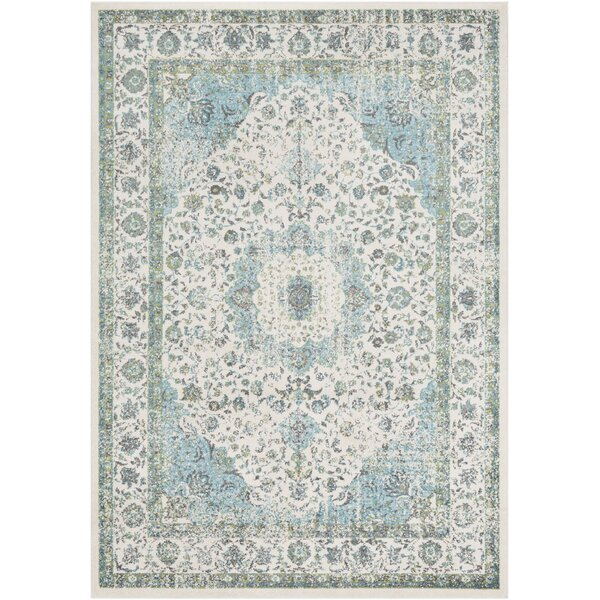 Almendarez Distressed Light Blue/Grass Green Area Rug by Bungalow Rose