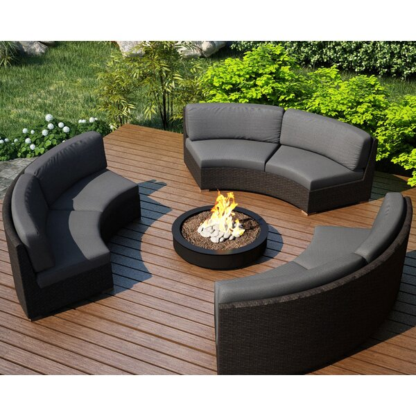 Hodge Patio Sectional with Sunbrella Cushions by Rosecliff Heights