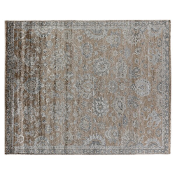 Antique Weave Hand Woven Silk Bronze/Gray Area Rug by Exquisite Rugs