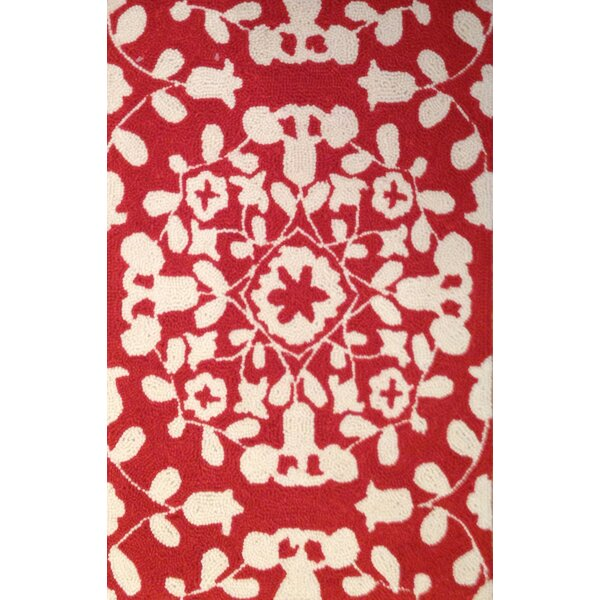 Mira Hand-Hooked Red Area Rug by Charlton Home