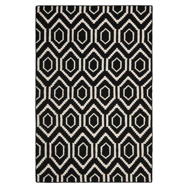 Crawford Hand-Woven Wool Black/Ivory Area Rug by Brayden Studio