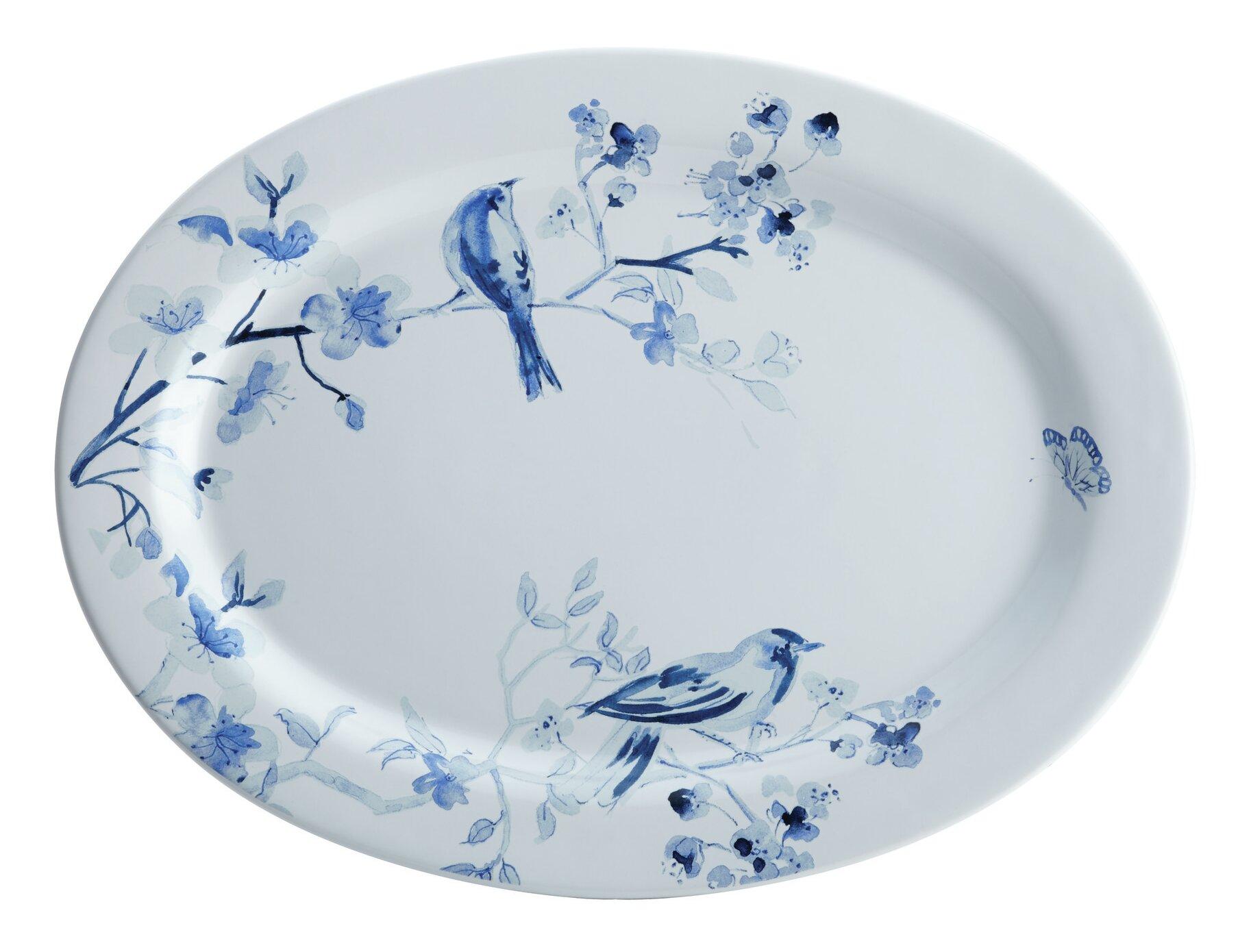 Paula Deen Indigo Blossom Stoneware Oval Serving Platter & Reviews ...