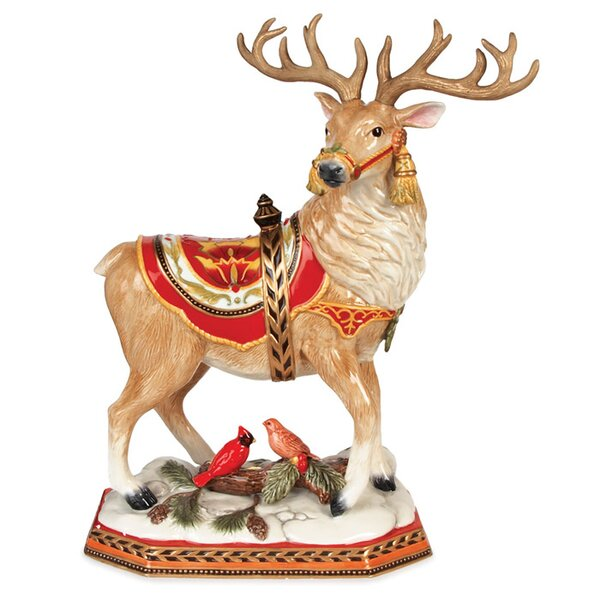 Damask Holiday Deer Figurine by Fitz and Floyd