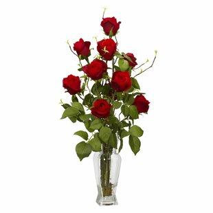 Tall faux flower arrangement wayfair rosebud silk flower arrangement mightylinksfo