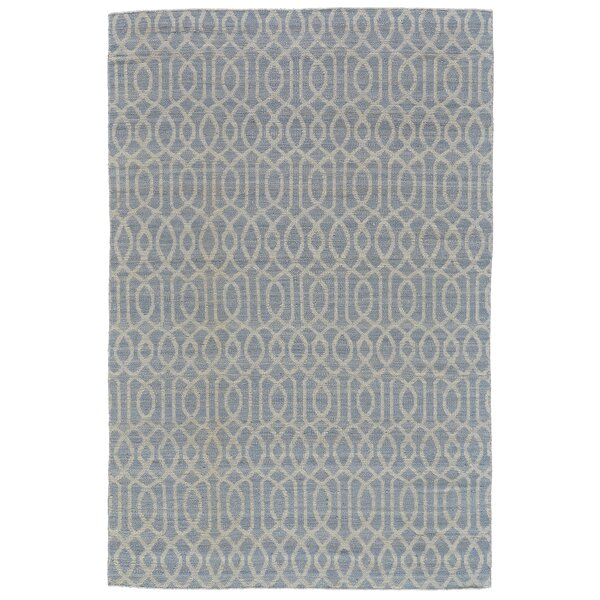 Bannerdown Hand-Loomed Light Blue Wool Pile Area Rug by Wade Logan
