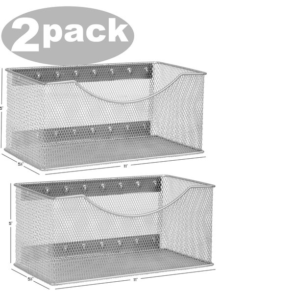 Biggerstaff Wire Mesh Magnetic Storage Basket (Set of 2) by Rebrilliant