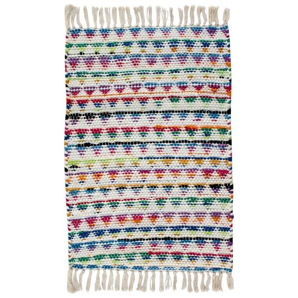 Dakota Hand Woven Cotton Green/Blue/Orange Area Rug by CLM
