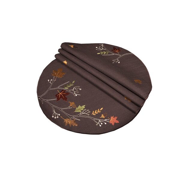 Dresden Branches Embroidered Fall Round Placemat (Set of 4) by Red Barrel Studio