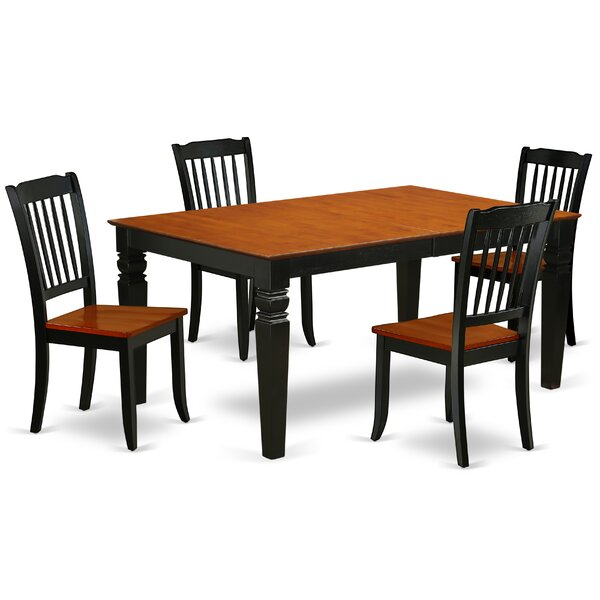 Kyte 5 Piece Extendable Solid Wood Dining Set by August Grove
