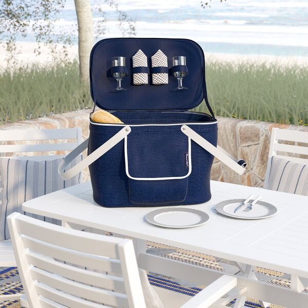 Collapsible Insulated Picnic Basket Cooler with Two Place Settings by Beachcrest Home