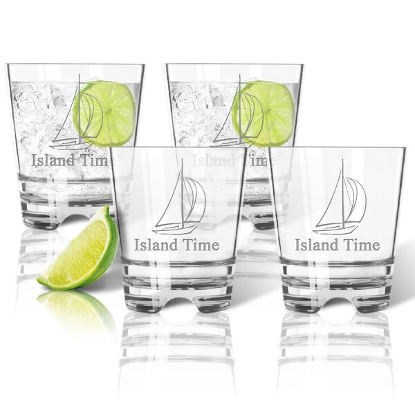 Personalized Tritan Sailboat 12 oz. Old Fashioned Glass (Set of 4) by Carved Solutions