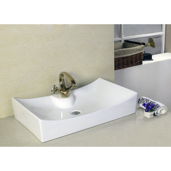 Above Counter Ceramic Rectangular Vessel Bathroom Sink with Overflow