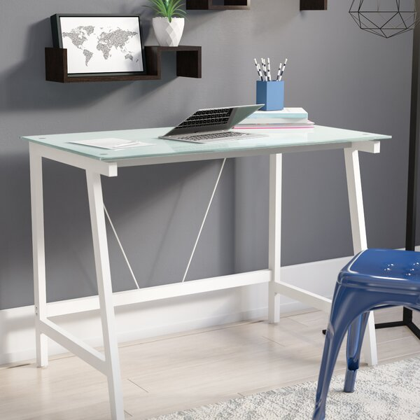 Chane Contemporary Glass Writing Desk by Zipcode D