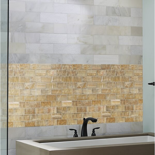 Giallo Crystal Random Sized Onyx Mosaic Tile in Gold by MSI