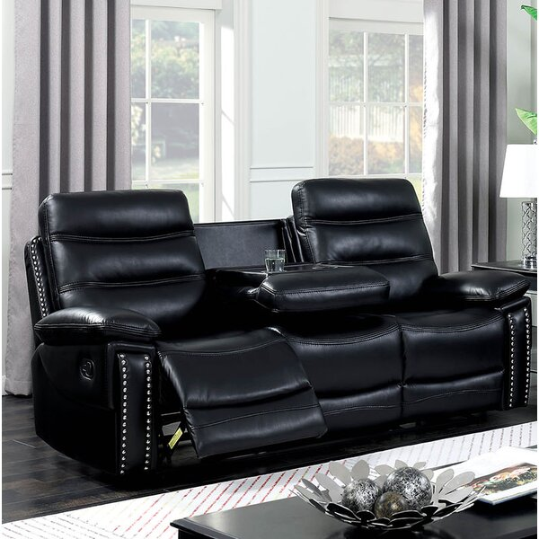 Heitz Contemporary Sofa Leather Manual Wall Hugger Recliner by Red Barrel Studio