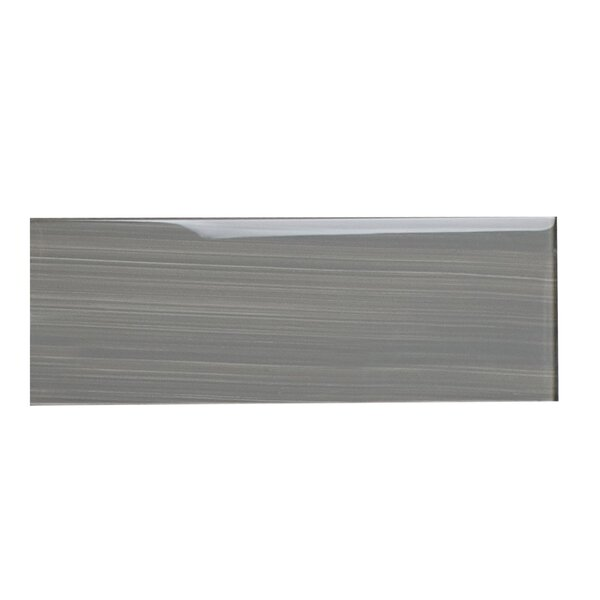 Hand Painted Series 4 x 12 Glass Subway Tile in Gray by WS Tiles