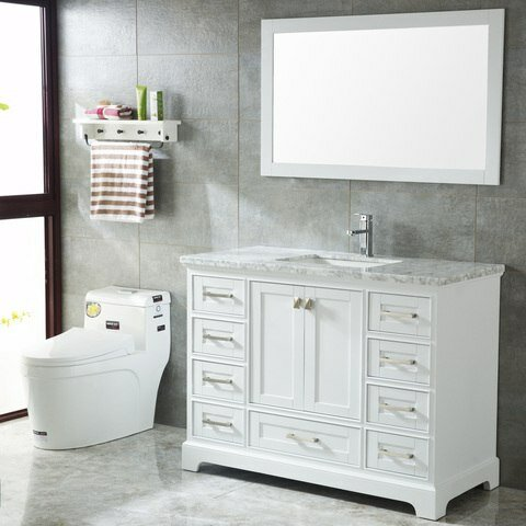 Crewkerne 48 Single Sink Modern Bathroom Vanity Set, White by Highland Dunes